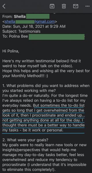 Shella's Testimonial - 1