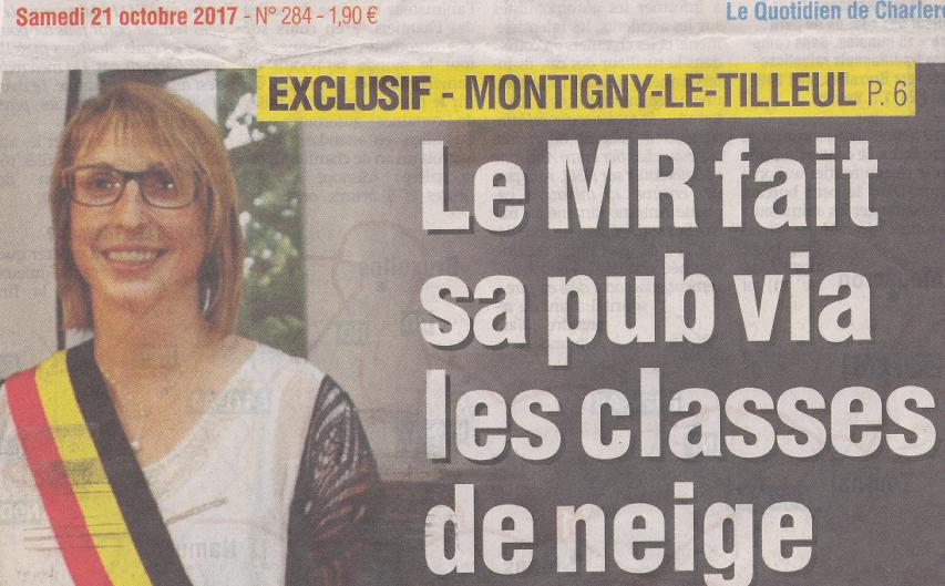 [Presse] «Quand le MR paye pour les classes de neige… Certaines formations politiques y voient de la propagande déplacée à un an des élections»