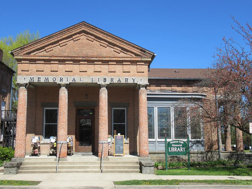 Montour Falls Library in Spring. Background image.