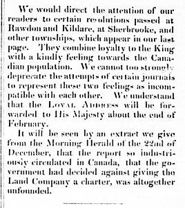 The Settler 12 février 1833