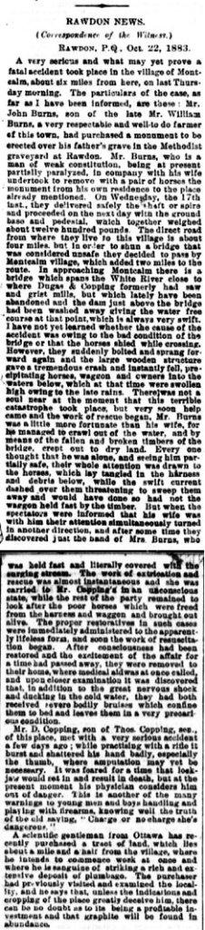 Daily Witness 25 octobre 1883