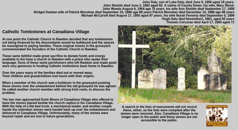 Catholic tombstones at Canadiana Village