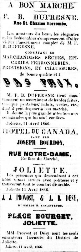 La Gazette de Joliette 11 avril 1866