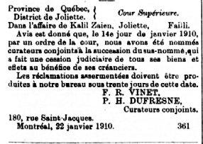 Gazette Officielle du Québec 22 janvier 1910