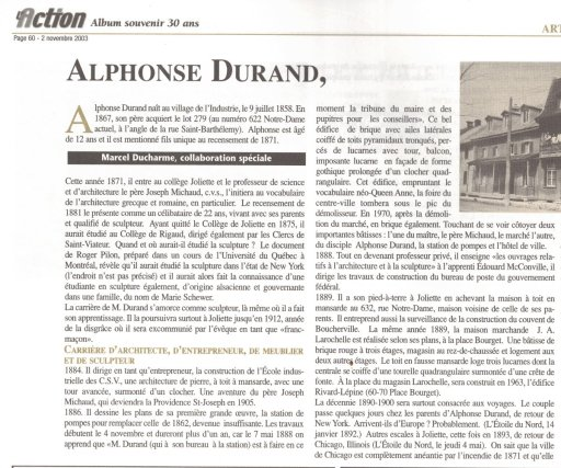 Album souvenir des 30 ans du journal L'Action (novembre 2003)