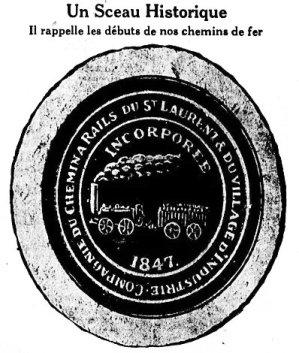 Sceau de la Compagnie du Chemin à Rails du St-Laurent et du Village d'Industrie