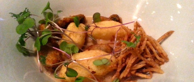 Fried Mussels, Potato Croquettes in Mussel Broth. Photo by Annie Shreeve
