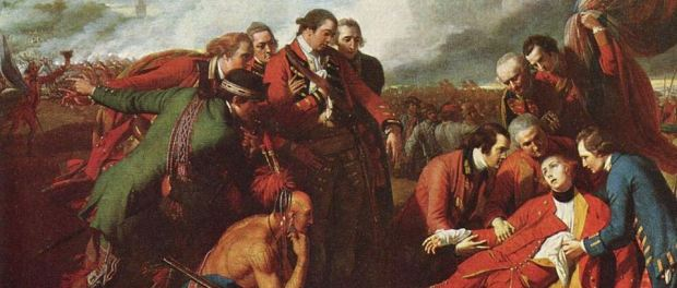 The end of the beginning: General Wolfe, while he did not live to see the British win the Battle of Plains of Abraham, marked the turning point of Quebec's history and the beginnings of English law in Quebec. Detail of