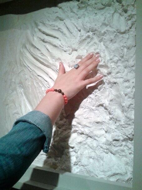 Touching Rodin's fingerprint. MMFA. Photo Cassandra Marsillo.