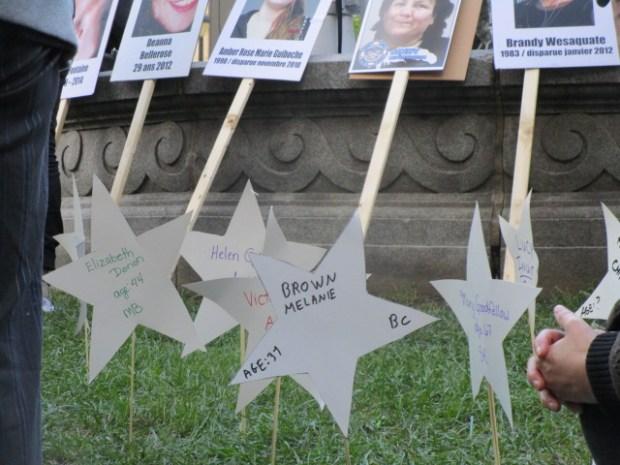 Brown Melaone and Elizabeth Dorion. Missing and Murdered Aboriginal Women March and Vigil. Photo Rachel Levine