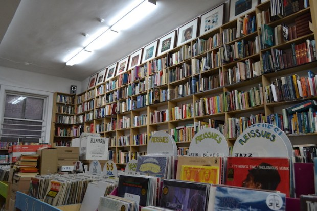 Vinyl Records and Shelves of Books. Encore Books. NDG. Photo Jessica Blair.