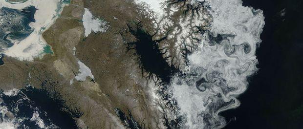 Sea Ice off Baffin Island. Remains of Laurentide Ice Sheet. Photo NASA.