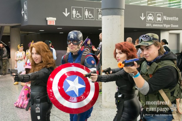 Cosplayers. Double Black Widow!