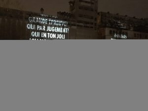 Leonard Cohen projected onto Silo No. 5. Jenny Holzer. Old Port. Photo Rachel Levine