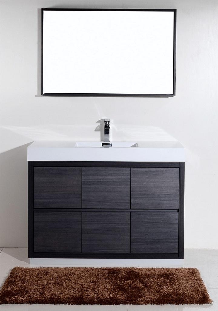 Bliss 48 Gray Oak Floor Mount Modern Bathroom Vanity