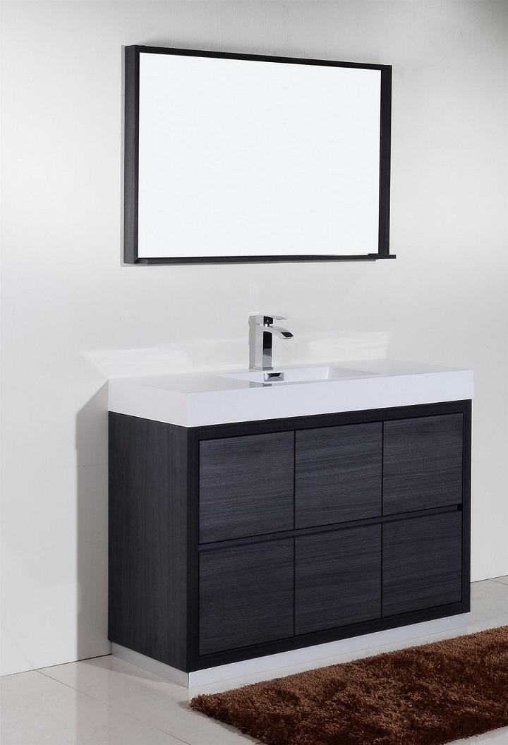 "Bliss 48"" Gray Oak Floor Mount Modern Bathroom Vanity"