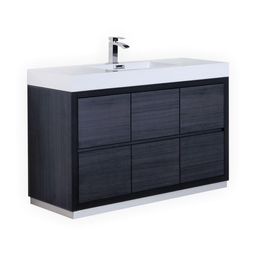 Bliss 60 Gray Oak Single Sink Floor Mount Vanity