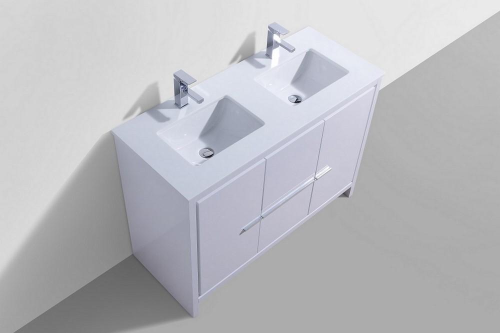 KubeBath Dolce 48 Double Sink High Gloss White Vanity