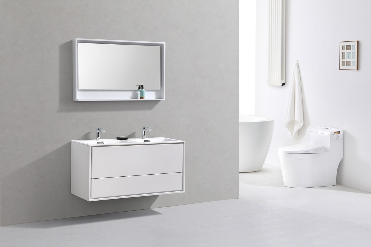 De Lusso 48 Double Sink High Glossy White Wall Mount