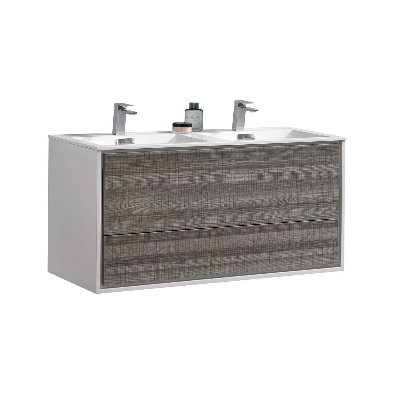 De Lusso 48 Double Sink Ash Gray Wall Mount Modern