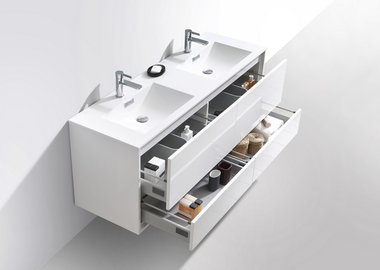 De Lusso 60 Double Sink High Glossy White Wall Mount