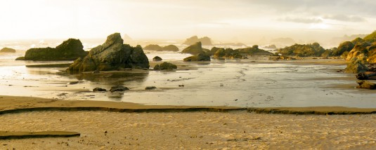 Harris State Beach near the time of sunset, with scattered crags and rocks covered in vegetation basked in golden rays