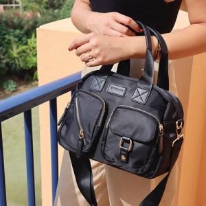 bolso bandolera de nylon negro