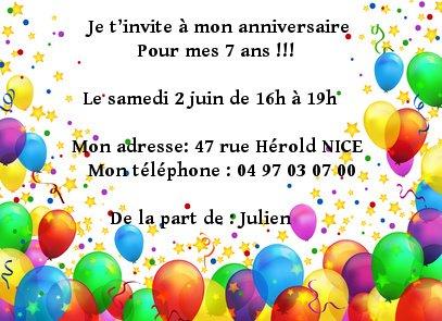 invitation d anniversaire 1º eso