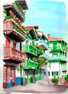 San Pedro Kalea. Hondarribia, Bidasoaldea, Guipuzkoa, Euskadi
