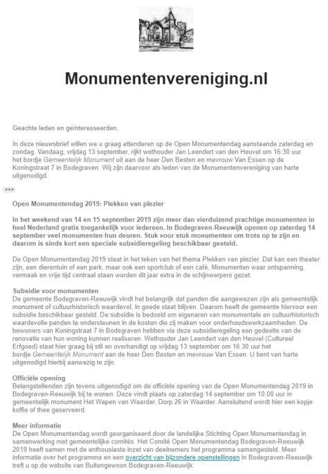 Nieuwsbrief #3 2019 - Open Monumentendag 2019