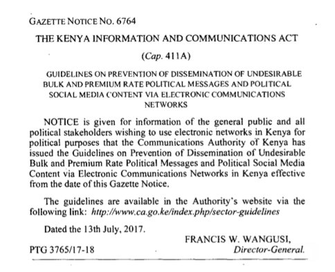 A Review of the Communications Authority Guidelines for Dissemination of Political SMS Text Messages and Social Media Content
