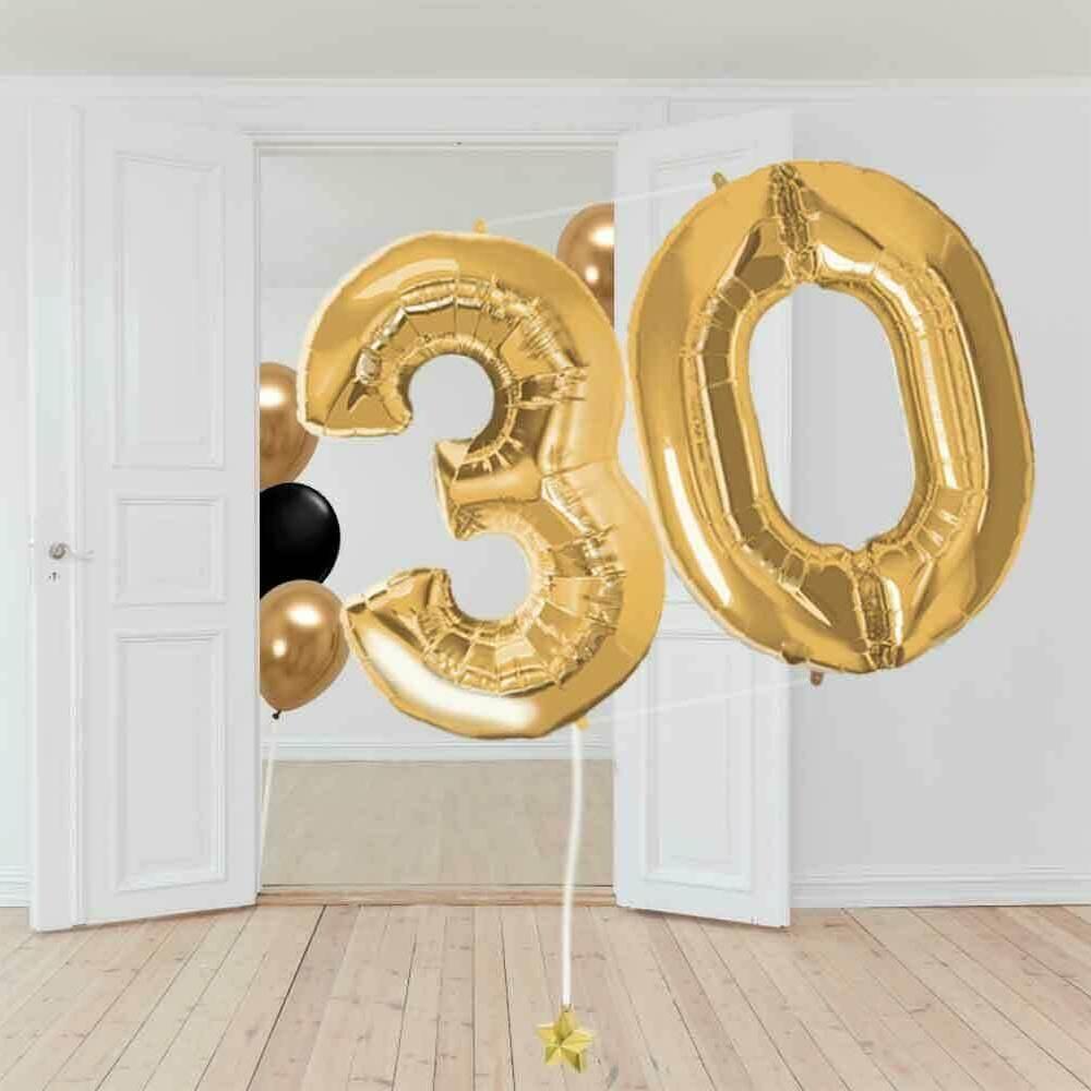 globo número dorado jumbo con helio