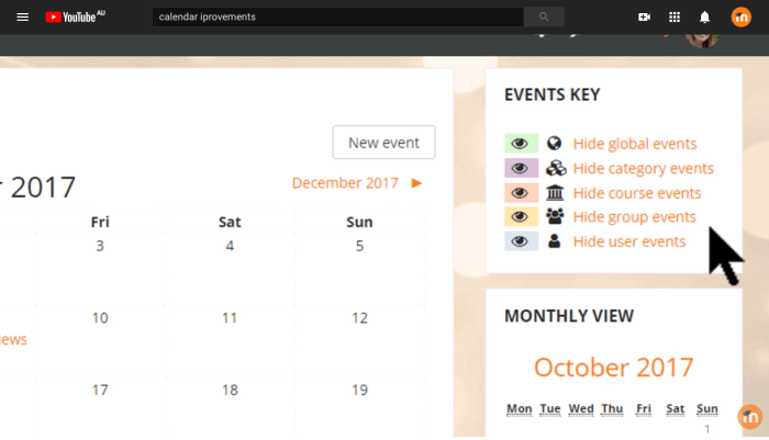 Moodle's calendar feature