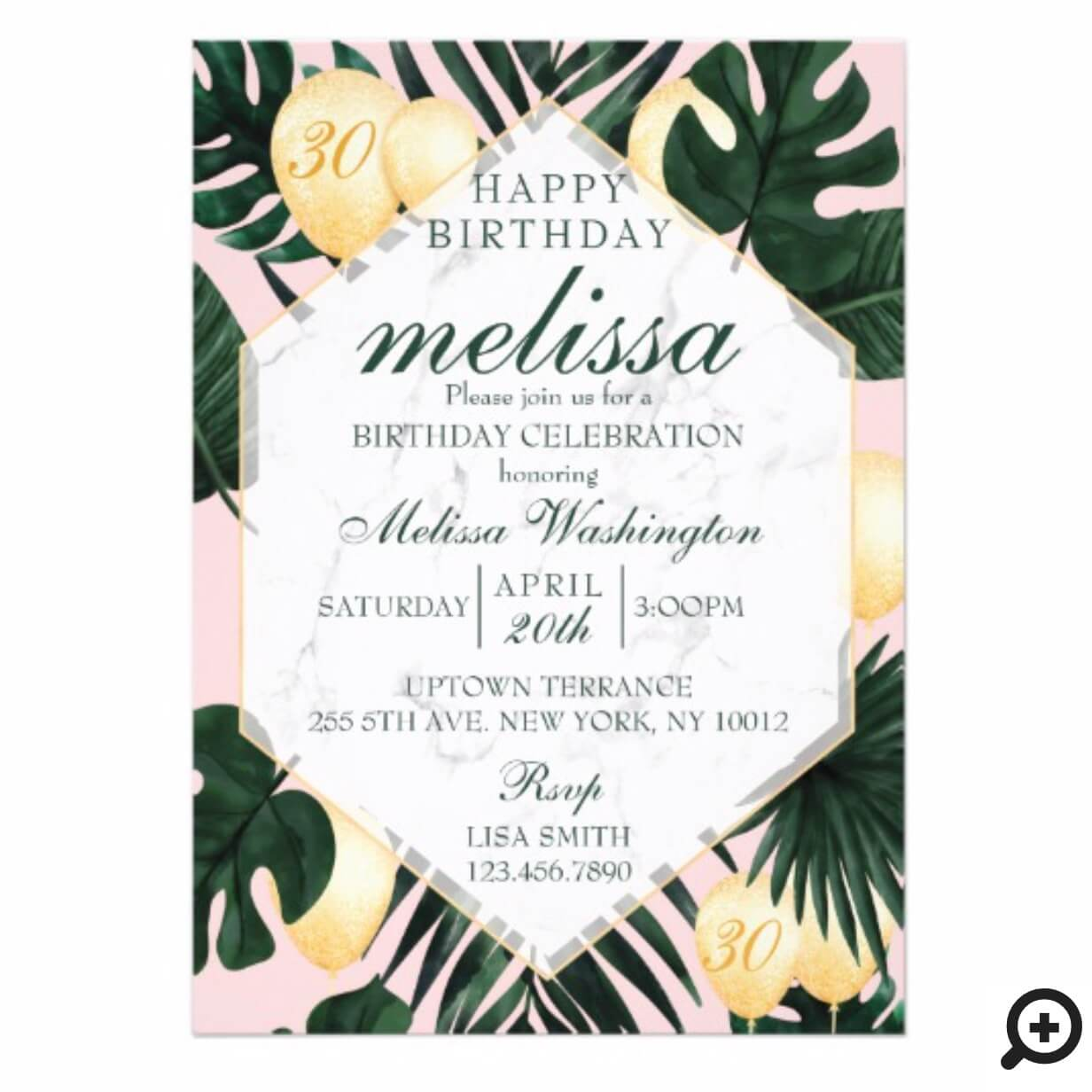 tropical leaf marble pink gold birthday