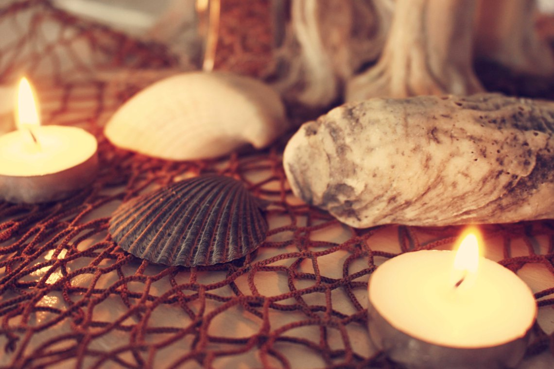 sea shells and candles