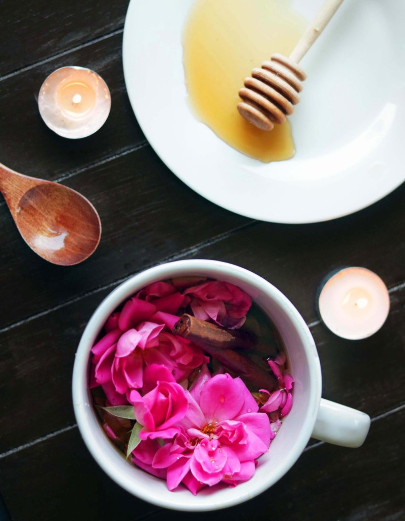 Aphrodite cinnamon honey rose witchcraft magick tea spell for love, attraction and romance.