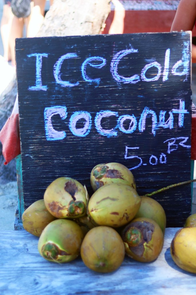 Ice cold coconuts in Caye Caulker, Belize