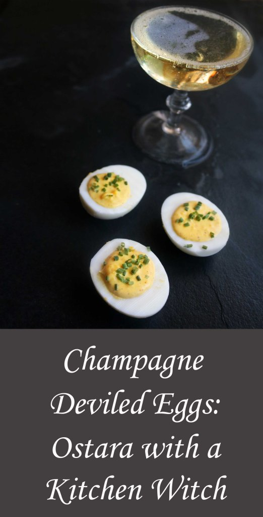 Celebrate Ostara with these creative, sophisticated champagne deviled eggs.
