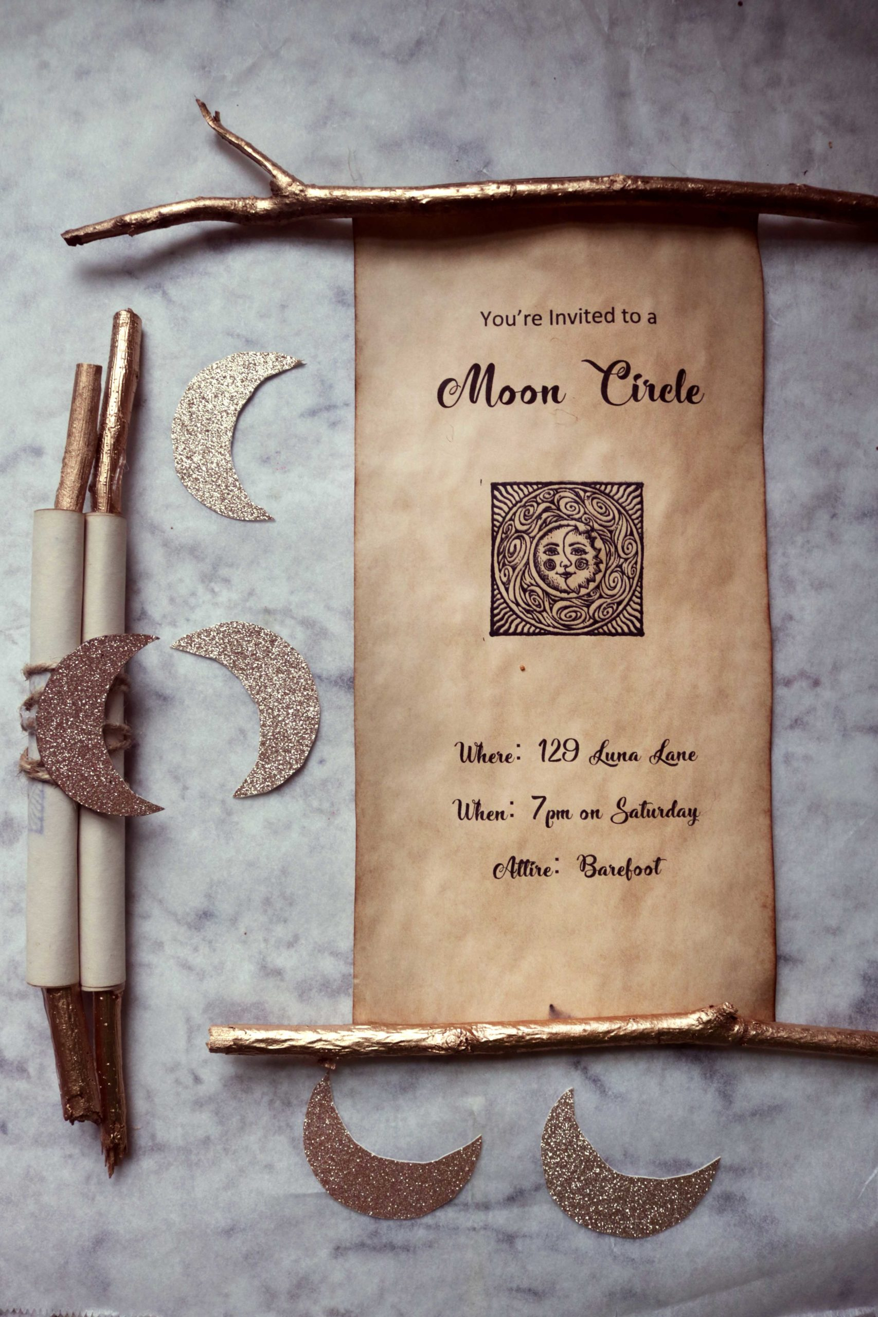 Moon circle spell scroll invitations for a full moon party, esbat or women's moon circle.