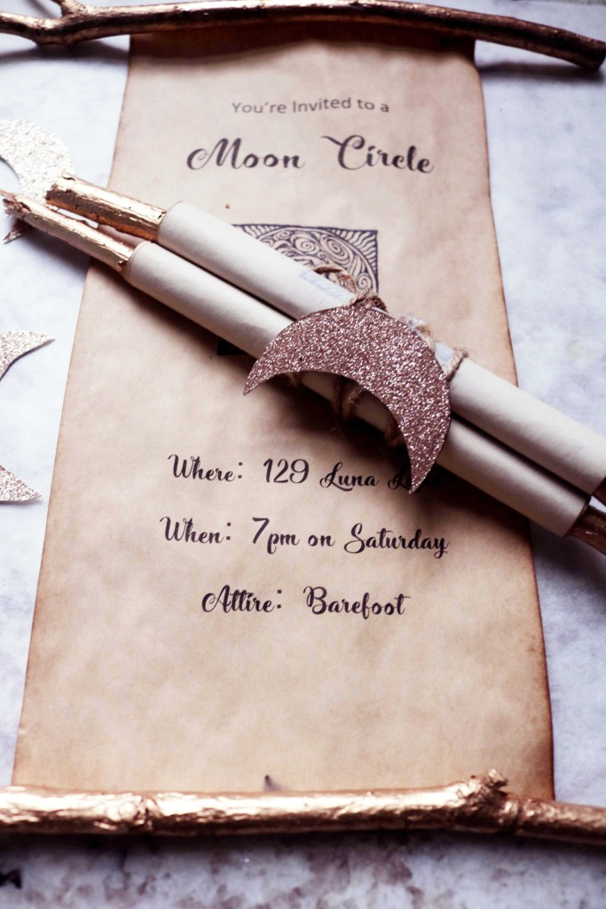 DIY Spell Scroll Moon Circle Invitations.