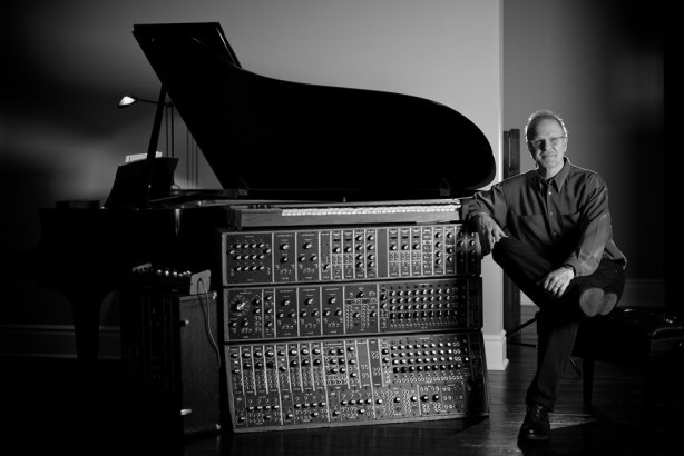 Michael Boddicker with an early modular Moog synthesizer