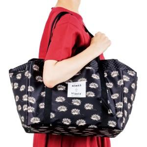 ニームとキッピスとのコラボ付録ハリネズミ柄のレジカゴバッグ使用例