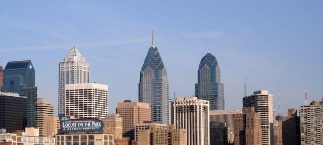 The Philadelphia city skyline on a clear day.