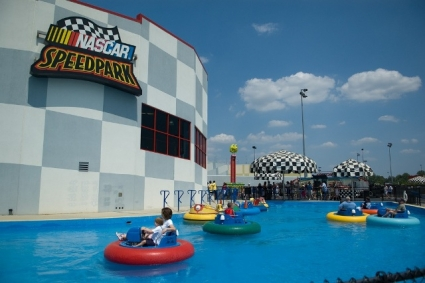 Speed Park patrons float along in inner-tube style bumper boats.