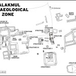 Map of Calakmul Archaeological Zone. Mexico