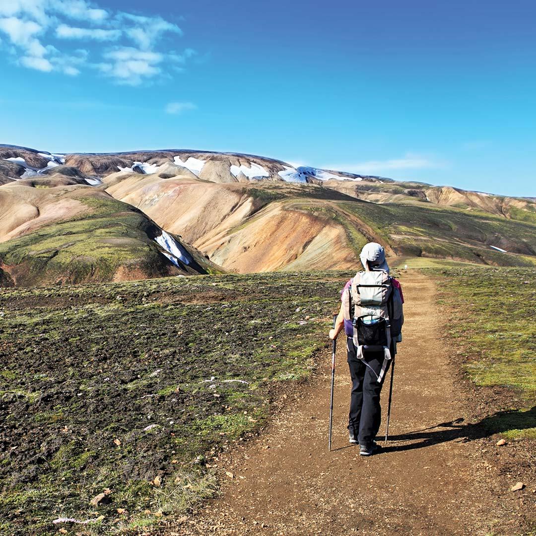 Hiking Mt. Hekla in Iceland.