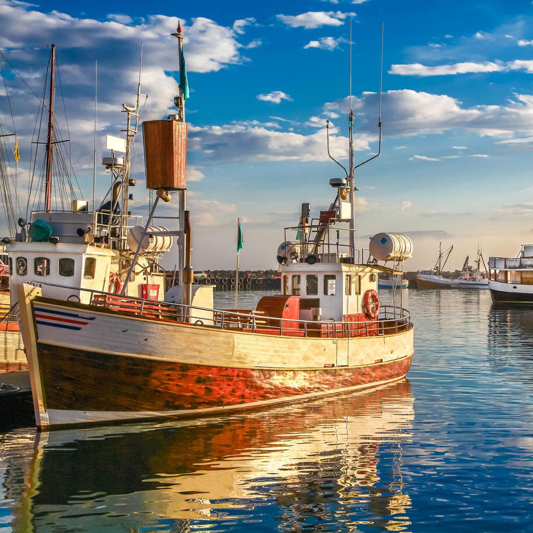Boats in the harbor at Husavîk