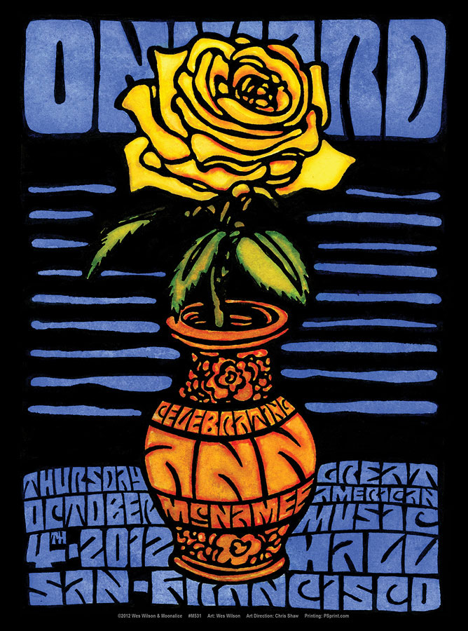 M531 › 10/4/12 Onward: A Celebration of Ann McNamee's Musical Life at Great American Music Hall, San Francisco, CA poster by Wes Wilson
