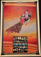 Set of 5 Phil Lesh posters from the 5 night run at the Warfield in 2008 – Signed by the poster artist Dennis Larkins. These posters depict the mural on the ceiling above the stage at the Warfield – each poster is different