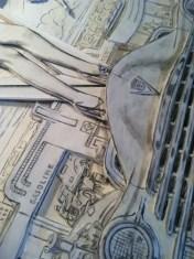 Floating Around The Fringes by Dennis Larkins (in progress close up)